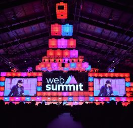 5 November 2015; Ryan Smith, CEO, Qualtrics, and Mike Butcher, Editor At Large, TechCrunch, on the Centre Stage during Day 3 of the 2015 Web Summit in the RDS, Dublin, Ireland. Picture credit: Stephen McCarthy / SPORTSFILE / Web Summit
